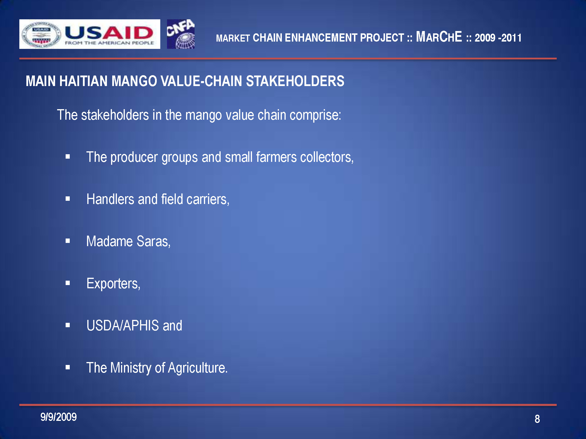 USAID MarChE Project Mango Market Value Chain